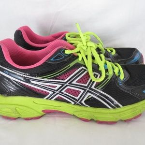 Asics T2F9Q Womens Size US 8 Black Neon Shoes